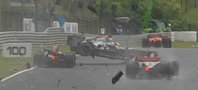 Kimi misjudged the speed of Liuzzi's Red Bull and slammed up the back of him.