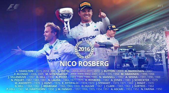 Congratulations Nico Rosberg on becoming the F1 world champion.