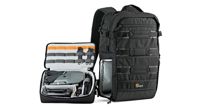 Lowepro ViewPoint BP 250 AW easily carries DJI Mavic Pro Fly more combo plus extra batteries propellers GoPro tripod landing pad surface pro 4 headphones.