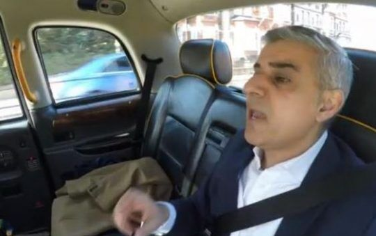 Sadiq Khan in a black cab paid for by the London tax payers.