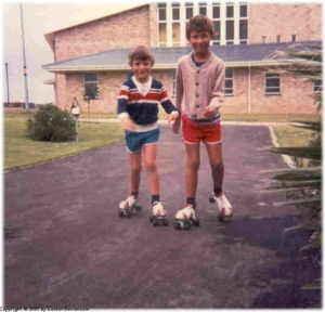 Roller skating on the newly tarred driveway