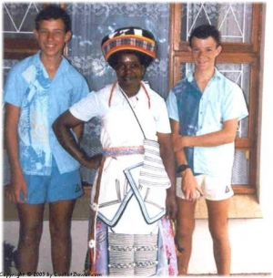 Mick and Pete with Jane our maid.