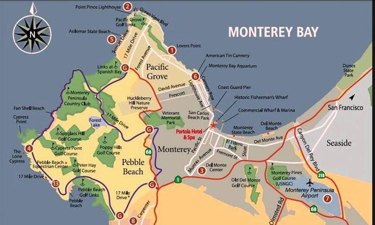 Map of Monterey, 17 Mile Drive, Pebble Beach  Mile Drive Map on