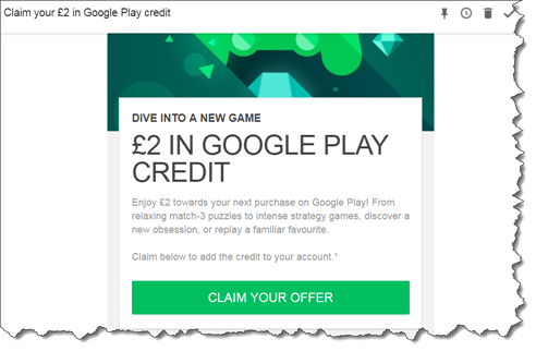 Google Play £2 free credit