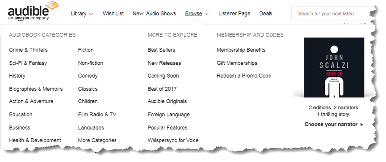 Audiobooks categories on audible