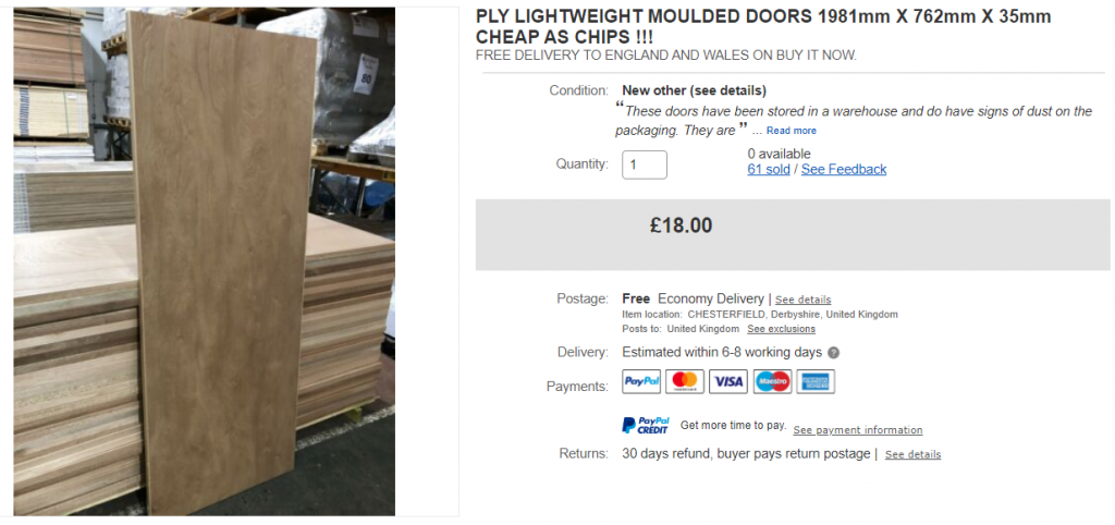 Ply lightweight moulded doors 1981mm X 762mm X 35mm