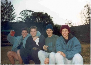 Graeme, Riaan, Pete, Mick on a very cold hike in the Amatola mountains.